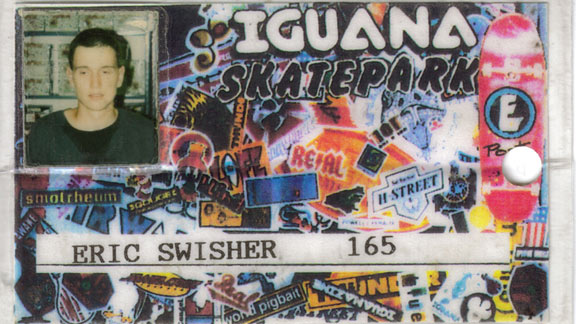 Erick Swisher's skatepark ID created in an era where much of his magazine collection comes from.