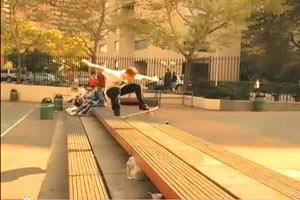 Going up, Casey Rigney puts a hurting on NYC spots by skating them like no one else can.