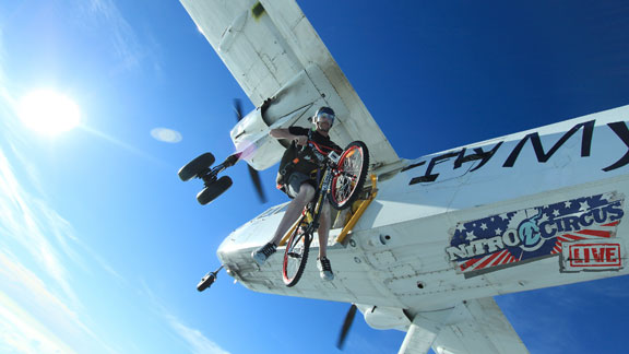 Members of the Nitro Circus launch their live New Zealand tour in November by skydiving with bikes, razor scooters and coolers. All this and more will be making its way to the U.S.A. later this year.