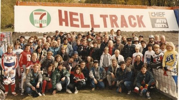 Cast and crew on the set of Helltrack from the movie Rad in 1986.