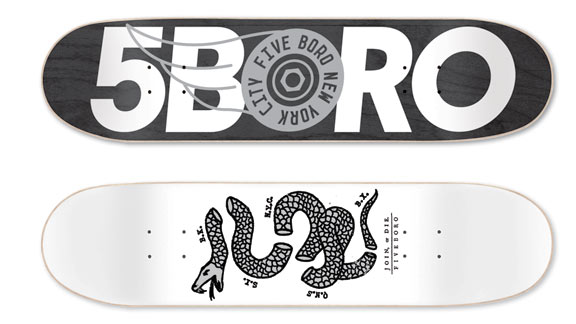 Some of the quality decks with solid graphics that are helping make Fiveboro a standout brand.