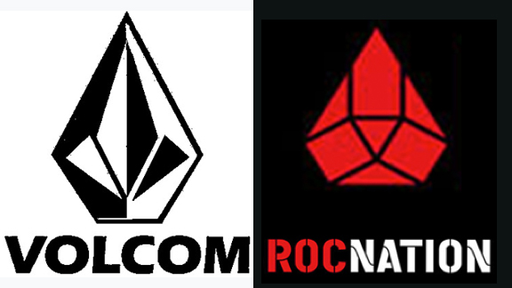 Volcom is suing Roc Nation because of the similarity of their diamond logos, shown above.