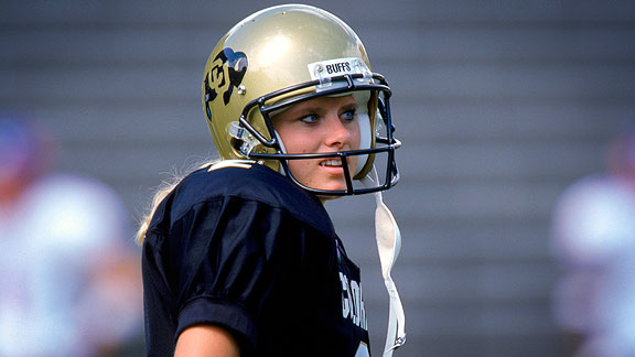 Katie Hnida represents the best and worst sides of women's attempts to play football with men. A trailblazing kicker in college, she also says she was sexually harassed at Colorado.