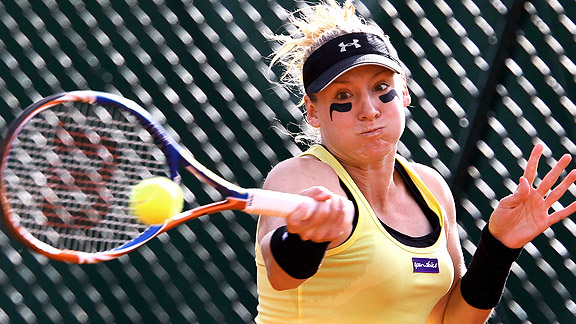 Bethanie Mattek-Sands serves defeat to Arantxa Parra Santonja of Spain on day one of the French Open.