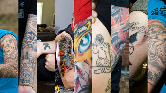 BMX pros display their tattoos and explain the meaning behind the artwork. a class=launchGallery href=http://espn.go.com/action/photos/gallery/_/id/6584315/pro-bmxers-explain-their-tattoosiLaunch Tattoo Gallery »/i/a