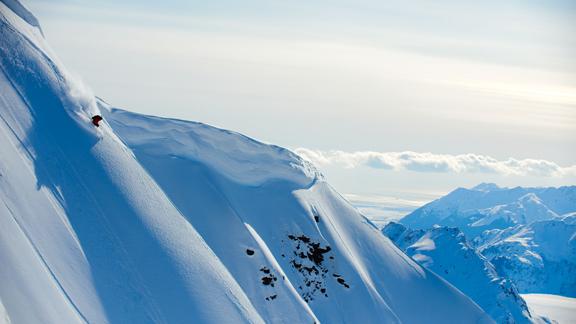 The late Kip Garre skiing at Points North Heli in Cordova, Alaska.