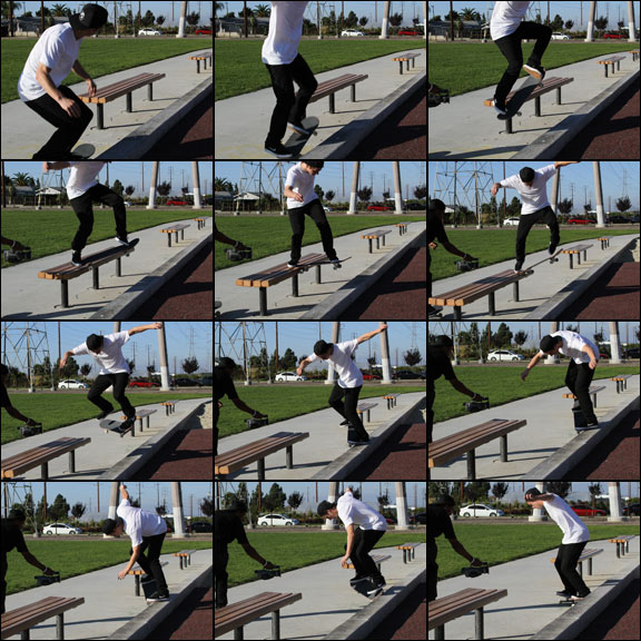 Cory Kennedy with some of his usual tech wizardry. This time he takes a backside tailslide and mixes in a backside 180 nosegrind outro.