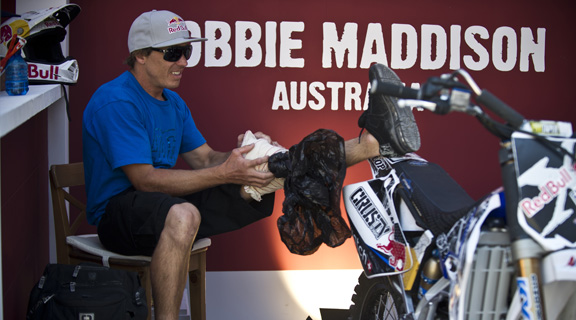 Robbie Maddison has had a tough year with injuries. After multiple crashes in practice in Madrid, Maddo made the decision to sit out the night show. He'll be back for Poland next month.