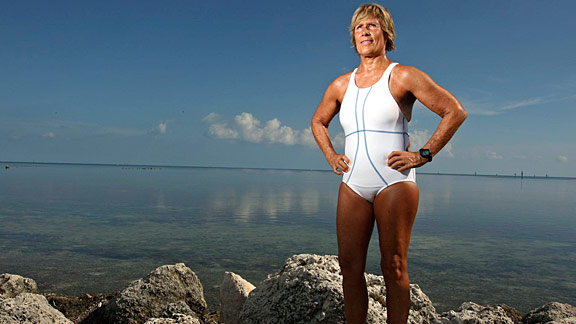 The 61-year-old is trying to do what she couldn't at 28 -- swim from Cuba to Florida. No stopping. No shark cage.