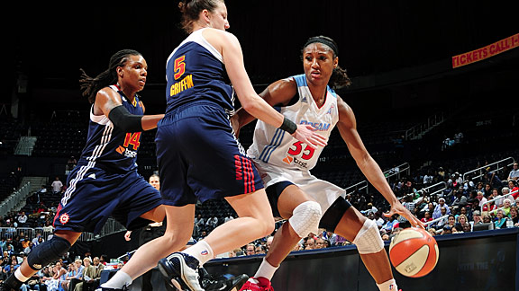 Angel McCoughtry is tied with Diana Taurasi as the league's top scorer, averaging 21.6 points per game.