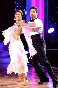 Hope Solo and Maksim Chmerkovskiy perform during the season premiere of Dancing With The Stars.