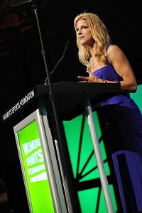 Sportscaster Bonnie Bernstein emcees the WSF gala in New York.