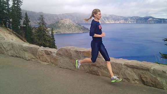 Eugene-based Lauren Fleshman took a training run at Crater Lake National Park in southern Oregon earlier this summer.