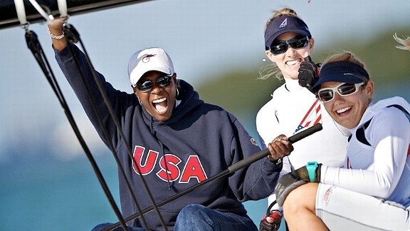 Wendy Borlabi is used to helping athletes in her role with the USOC, but here, the tables were turned as she got a sailing lesson from some of the athletes she helps.