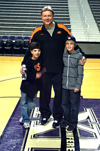 Kurt Budke devoloped a close bond with radio broadcaster Kevin Gum's sons. Budke is pictured with Landry, left, and Trevor, right.