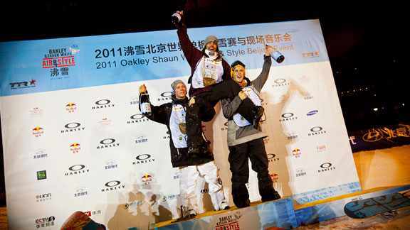 Scandinavian takeover of the Air & Style Beijing podium. From left to right: Torstein Horgmo, Ulrik Badertscher and Stale Sandbech.