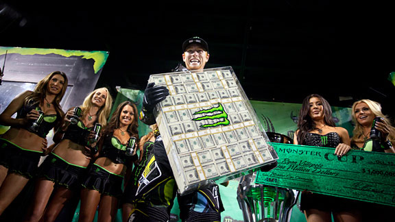 In 2011, Ryan Villopoto won everything -- a grand slam of sorts for motocross. On top of AMA Supercross and Motocross titles, Villopoto won the Motocross of Nations and 1million at the Monster Energy Cup, the largest cash prize ever offered in motocross.