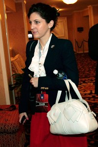 Rita Benson LeBlanc, executive vice president/part owner of the Saints, leaving the 2011 NFL owners meetings in New Orleans.