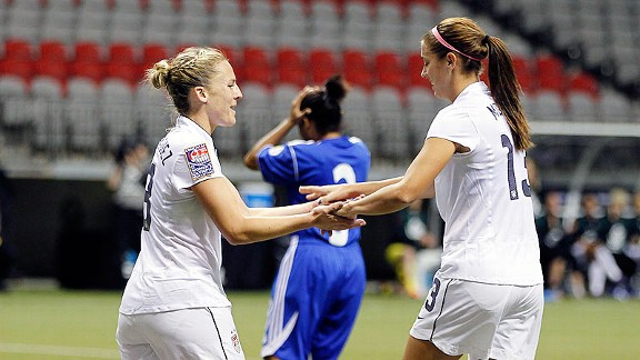 Amy Rodriguez, left, scored five goals in Team USA's 14-0 win over the Dominican Republic on Friday.
