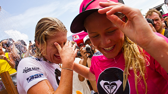 Steph Gilmore (left) and Laura Enever share a moment together after an emotional final.