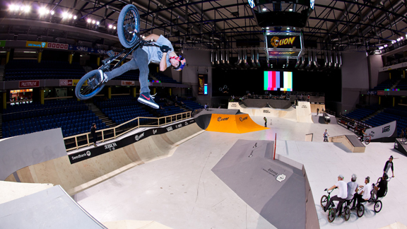 Red Bull U.K.'s newest recruit Kriss Kyle is exactly the type of rider who you can expect to adapt to a course like this. He has tons of stylish park tricks like the classic can-can, but can also hold his own on street obstacles with the best of them.
