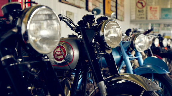 Inside the Robert Stein winery, a vineyard with a small motorcycle museum attached.