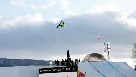 Noah Morrison during qualifiers for JOI. The qualifiers alone saw some of the most progressive skiing at any big air in history.