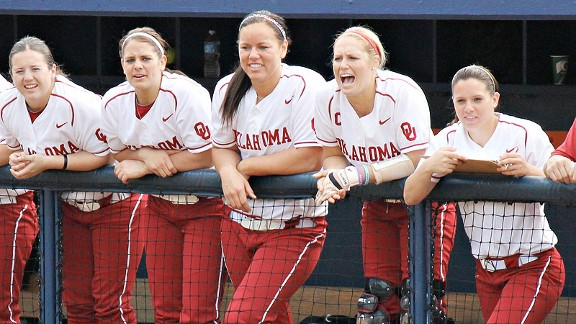 Head coach Patty Gasso has praised Jessica Shults, second from right, for her consistent approach to the game and the leadership she provides her Oklahoma teammates.