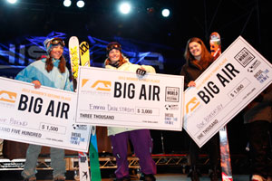 The women's big air podium.