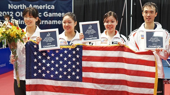 Dream come true: Ariel Hsing, third from left, celebrates with her 2012 U.S. Olympic table tennis teammates.