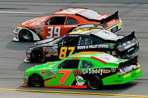 Danica Patrick lost valuable track position several times when she needed to nose her car out of the draft line to cool her engine.
