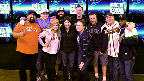 Our scribe (center) with this year's nine contestants, a group that will be narrowed down to one superfan winner by season's end.