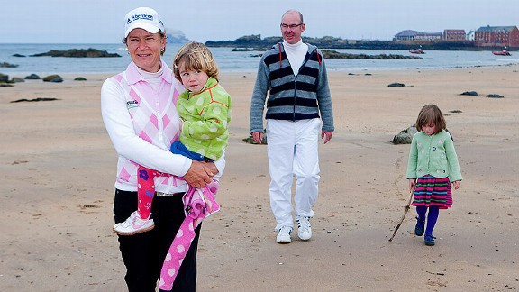Scottish golfer Catriona Matthew, the 2009 British Women's Open champion, travels with her husband, who caddies for her, and their two daughters.