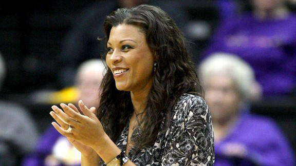 LSU women's basketball coach Nikki Caldwell gave birth to her first child, daughter Justice, in March.