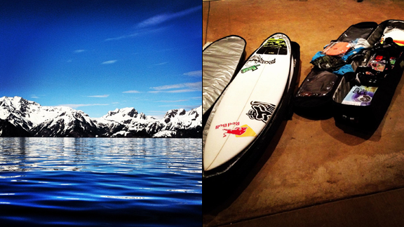 Surf or snowboard while up in Alaska? I guess I'll just do both...