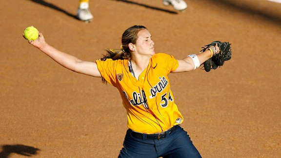 Cal's Jolene Henderson, shown in last year's World Series, shut out Washington on Saturday night.