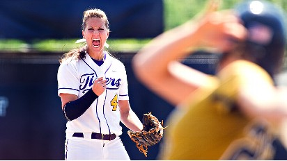 LSU's Brittany Mack struck out 17 in the 12th-inning loss on Sunday.