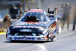 Courtney Force in her first season of driving NHRA Funny Cars full-time. She is ninth in the standings.