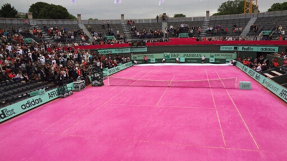 Court 1 was resurfaced with pink clay to celebrate Ladies' Day at the French Open.