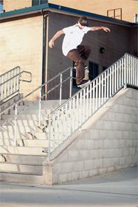 Taylor Bingaman frontside krooks a 12 stair handrail