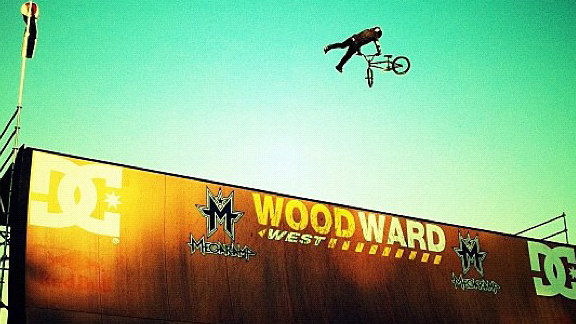 Hoffman Bikes pro Zack Warden amid the world's first triple tailwhip air on the MegaRamp yesterday.