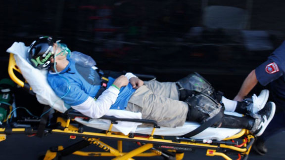 Burnquist was taken off the MegaRamp by X Games medical staff and brought to California Medical Center, where he was X-rayed and later released.