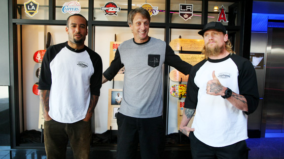 Ben Harper, left, Tony Hawk, center, and Mike Vallely during the Tony Hawk Foundation BoardsBands press conference at X Games Los Angeles.