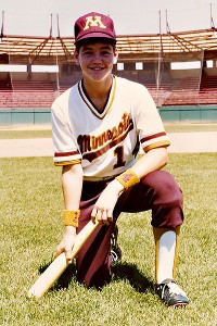 David Wiser made the Minnesota Little Gophers team in the spring of 1978. Here he is pictured at the University of Minnesota's baseball field.