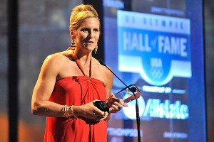 Twelve-time Olympic medalist Jenny Thompson accepts an award at the 2012 U.S. Olympic Hall of Fame induction ceremony last week.