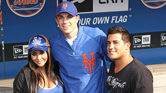 Nicole 'Snooki' Polizzi and her fiance, Jionni LaValle, right, meet with Mets star David Wright at Citi Field.