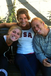 Rachel Dawson (center) with teammates Katelyn Falgowski (left) and Lauren Crandall (right) in England.