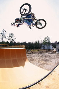 Leigh Ramsdell with a huge invert on Dave Mirra's vert ramp in Greenville, N.C., as seen on the pages of Ride BMX Magazine in the late '90s.