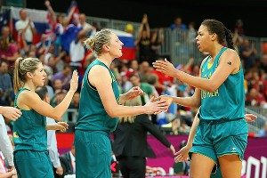 Liz Cambage, right, combines with Lauren Jackson (not pictured) to average about 29 points and 12 rebounds in the Olympics.