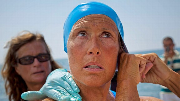 Diana Nyad begins her fourth attempt to swim from Cuba to Florida, which she was forced to abandon after 42 hours.